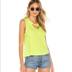 NWT LNA neon yellow tank in size small